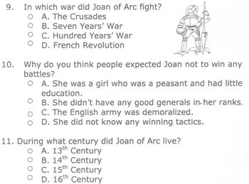 Biography JOAN OF ARC + Reading Comprehension Multiple Choice Questions