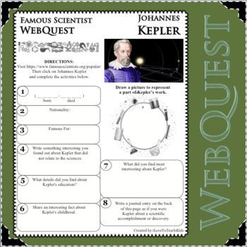 JOHANNES KEPLER Science WebQuest Scientist Research Project Biography Notes