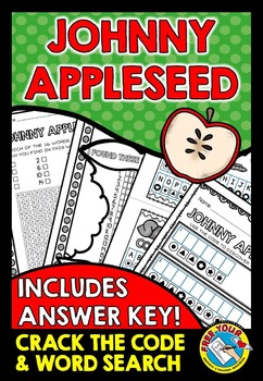 JOHNNY APPLESEED ACTIVITIES (WORD SEARCH, CRACK THE CODE GAME)