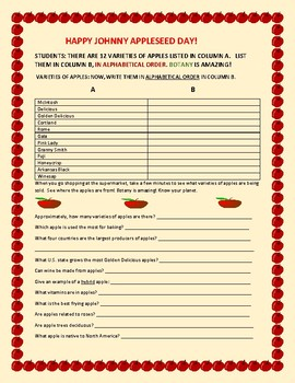 JOHNNY APPLESEED: AN ELA ACTIVITY COMBINED WITH SCIENCE KNOWLEDGE
