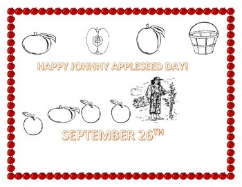 JOHNNY APPLESEED COLORING PAGE: K-3
