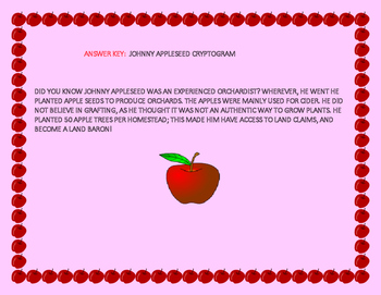 JOHNNY APPLESEED CRYPTOGRAM