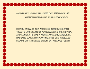 JOHNNY APPLESEED DAY-SEPTEMBER 26TH -CRYPTOGRAM-BRING AN APPLE TO SCHOOL!
