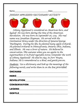 JOHNNY APPLESEED DICTIONARY ACTIVITY GRADES 3-5