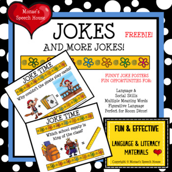 JOKES Posters Room Decor Figurative Language Speech Therapy FREE