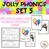 JOLLY PHONICS SET 5 Flashcards and word-sentence bank
