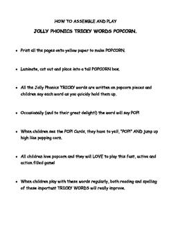 PHONICS TRICKY WORDS POPCORN