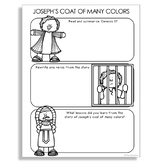 JOSEPH'S COAT OF MANY COLORS Bible Story Illustrated Notes Activity