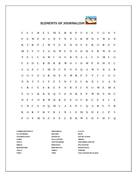 JOURNALISM ELEMENTS:  WORD SEARCH