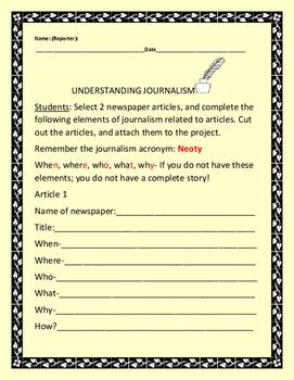 JOURNALISM PROJECT: GRADES 5-9