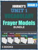 JOURNEY'S GRADE 3 UNIT 1 VOCABULARY FRAYER MODEL BUNDLE