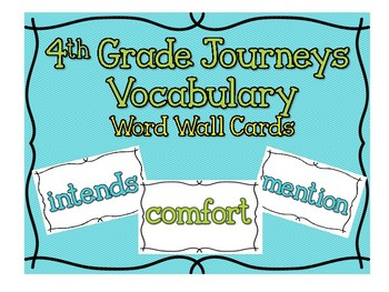 JOURNEYS 4th Grade Vocabulary Word Wall Cards