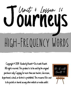 JOURNEYS Second Grade: Unit 4 Lesson 16-- High-Frequency Words