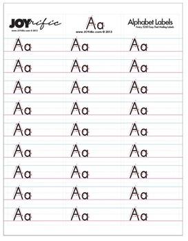 JOYrific Alphabet Letter Labels (Full Set of 26 Individual Letter Pages)