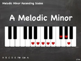 Piano Chalkboard - Melodic Minor Ascending 1-Octave Scales (JPG - 21 pics)