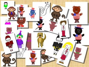 JPegs / Clip Art Characters (girl/boy,  monkey, dog, USA c