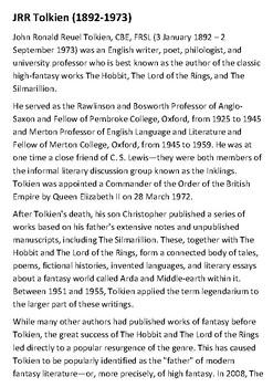 JRR Tolkien Handout