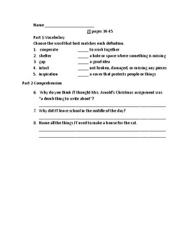 J.T. by Jane Wagner Comprehension and Vocabulary Packet