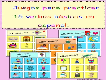 JUEGO 15 VERBOS BASICOS GAME 15 BASIC VERBS SPANISH (TIC TAC TOE)