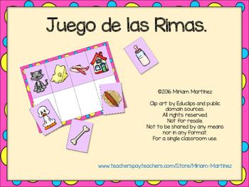 JUEGO DE LAS RIMAS. Spanish Rhyming Game.