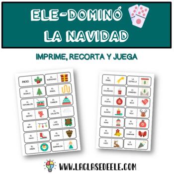 JUEGO DOMINÓ CON VOCABULARIO DE LA NAVIDAD EN ESPAÑOL