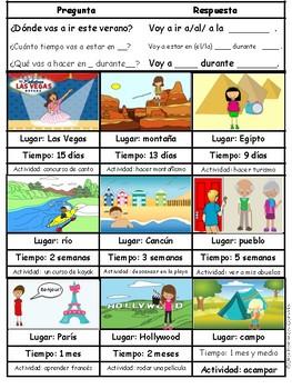 JUEGO ORAL PLANES VERANO FUTURO PROXIMO (ACTIVIDADES) ORAL GAME FUTURE SPANISH