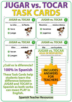 JUGAR vs. TOCAR - Spanish Task Cards