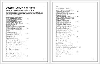 JULIUS CAESAR - AP English Literature Essay Prompt - Act Five