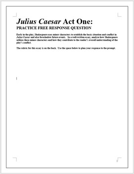 JULIUS CAESAR   AP English Literature Essay Prompt   Act One