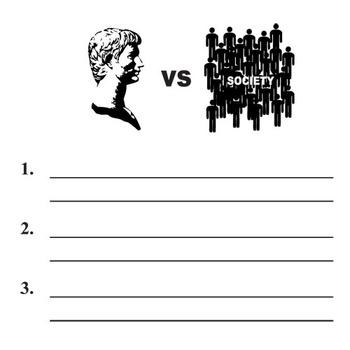JULIUS CAESAR Conflict Graphic Organizer - 6 Types of Conflict