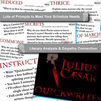 JULIUS CAESAR Journal - Quickwrite Writing Prompts - PowerPoint
