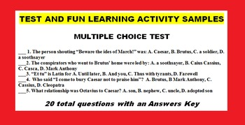 JULIUS CAESAR RETOLD with fun activities, tests, keys, etc