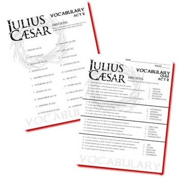 JULIUS CAESAR Vocabulary List and Quiz (20 words, Act 2)