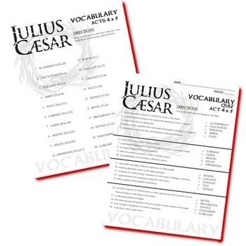 JULIUS CAESAR Vocabulary List and Quiz (20 words, Act 4-5)