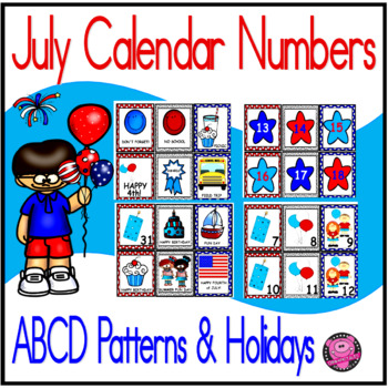FOURTH OF JULY CALENDAR NUMBERS