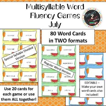 JULY Multisyllabic Games Word Fluency Literacy Center Big Words