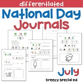 JULY National Days Differentiated Journals for special education