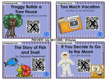 JULY QR Code stories - 10 stories for the month of July ~ Great for centers!