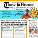 JULY Today in History Cursive Practice fun handwriting trivia history summer