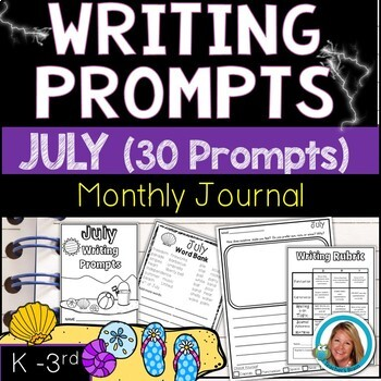 JULY Writing Prompts Journal K-3