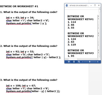 JUMBO PACK 180 BITWISE OR WORKSHEETS  JAVA SYNTAX
