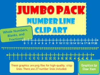 JUMBO PACK Number Line Clip Art  Fractions Common Core Math Work Station Center