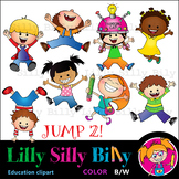 JUMP 2! - B/W & Color clipart, illustration {Lilly Silly Billy}