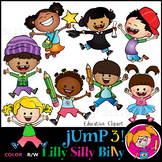 JUMP 3! - B/W & Color clipart, illustration {Lilly Silly Billy}