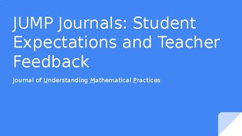 JUMP journals; Student Expectations and Feedback