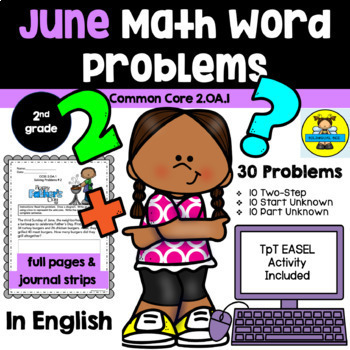 JUNE - 2ND GRADE MATH WORD PROBLEMS IN ENGLISH - CCSS 2.OA.1