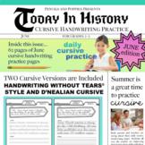 JUNE CURSIVE handwriting practice Today In History events