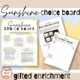 Summer Vibes Choice Board for Creative Gifted Learners