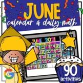 JUNE Google Digital Calendar and Daily Math (for Kindergarten)