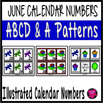 JUNE ILLUSTRATED CALENDAR NUMBERS with DRAGONFLIES and FRI